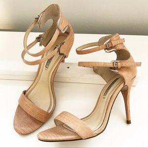 Zara Ankle Strappy Snake Skin Heel Sandals 39 / 9